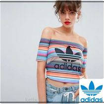adidas Stripes Casual Style Bandeau & Off the Shoulder