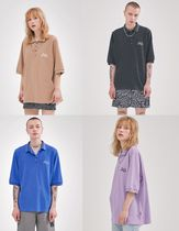 AGENDER Unisex Street Style Plain Cotton Short Sleeves Oversized
