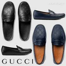 GUCCI Monogram Driving Shoes Plain Leather Loafers & Slip-ons