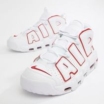 Nike AIR MORE UPTEMPO Unisex Street Style Bi-color Plain Leather Sneakers