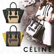 CELINE Luggage 2WAY Bi-color Leather Elegant Style Handbags