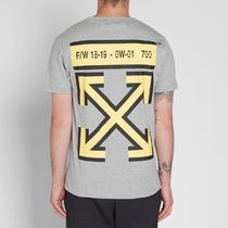 Off-White Unisex Henry Neck Street Style Short Sleeves Henley T-Shirts