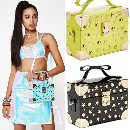 Star Casual Style Studded PVC Clothing Shoulder Bags