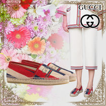 GUCCI Stripes Wedge Open Toe Casual Style Leather Espadrille Shoes