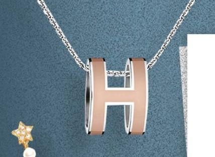HERMES Necklaces & Pendants POP H Silver chain