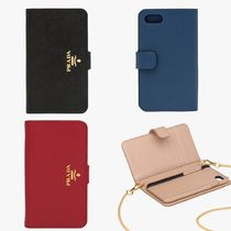PRADA Chain Plain Leather Smart Phone Cases