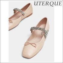 Uterque Bejewelled Leather Ballet Shoes Nude