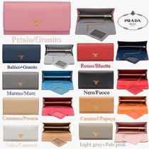PRADA Bi-color Plain Leather Long Wallets