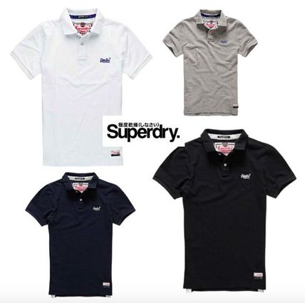 Street Style Plain Cotton Short Sleeves Polos