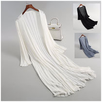 Cable Knit Linen Long Sleeves Plain Long Office Style Gowns