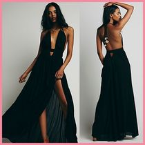 Free People Maxi Tassel Sleeveless Halter Neck Long Party Style Dresses