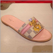 Louis Vuitton DAMIER AZUR Monogram Open Toe Leather Elegant Style Sandals