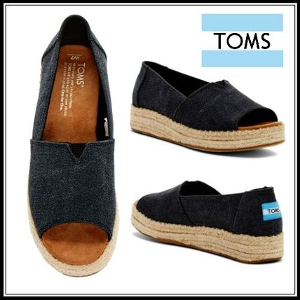 Open Toe Platform Casual Style Suede Plain Slip-On Shoes