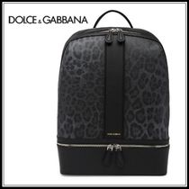 Dolce & Gabbana Leopard Patterns A4 Leather Backpacks