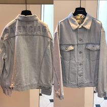 BALENCIAGA Casual Style Denim Street Style Plain Long Oversized Jackets