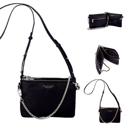 Street Style 2WAY Chain Plain Leather Shoulder Bags