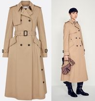 Christian Dior Plain Long Office Style Trench Coats