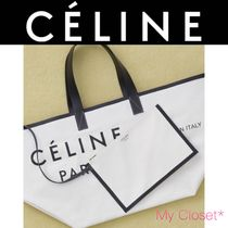 CELINE Casual Style Canvas A4 Plain Oversized Totes