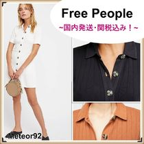 Free People Short Casual Style Tight Plain Cotton Short Sleeves Dresses