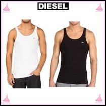DIESEL Sleeveless U-Neck Plain Cotton Tanks