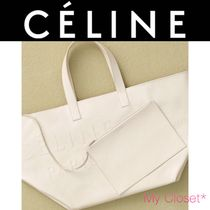 CELINE Casual Style A4 2WAY Plain Leather Oversized Totes