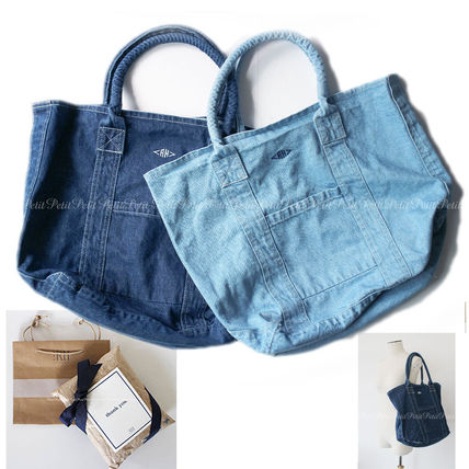 Casual Style Unisex A4 2WAY Plain Totes