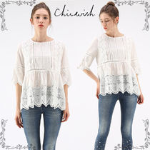 Chicwish Crew Neck Flower Patterns Plain Cotton Medium Short Sleeves