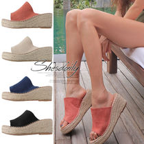 Casual Style Plain Platform & Wedge Sandals