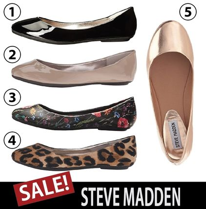 Flower Patterns Round Toe Casual Style Plain Flats