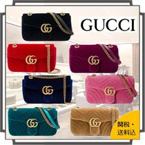 GUCCI GG Marmont 2WAY Chain Plain Leather Elegant Style Bold Shoulder Bags