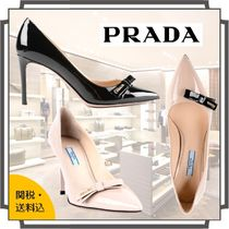 PRADA Blended Fabrics Plain Leather Pin Heels Elegant Style