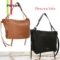 PRADA Casual Style Unisex Plain Leather Shoulder Bags