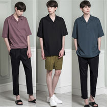 Pullovers V-Neck Plain Cotton Short Sleeves V-Neck T-Shirts