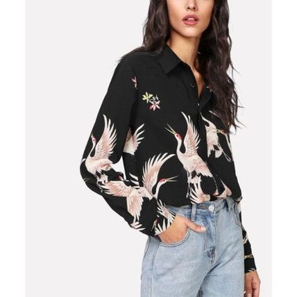 Shirts & Blouses Casual Style Long Sleeves Other Animal Patterns Long 2