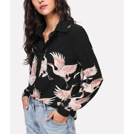 Shirts & Blouses Casual Style Long Sleeves Other Animal Patterns Long 3