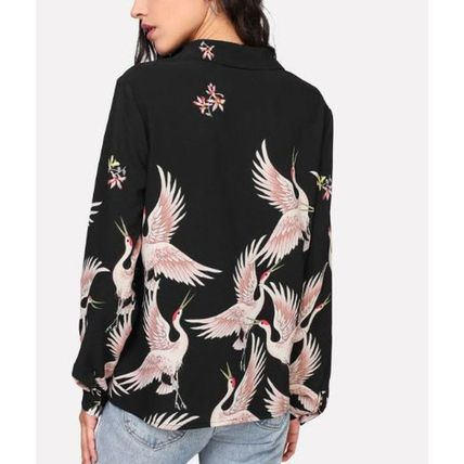 Shirts & Blouses Casual Style Long Sleeves Other Animal Patterns Long 4