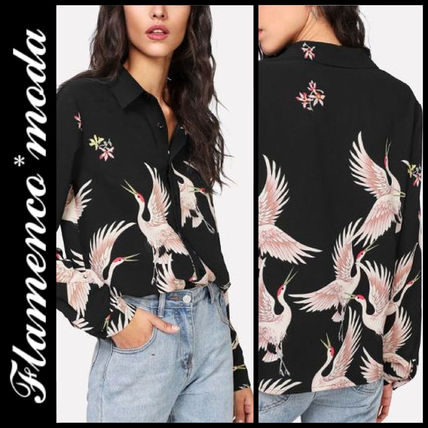 Shirts & Blouses Casual Style Long Sleeves Other Animal Patterns Long