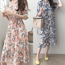 Flower Patterns Cotton Long Dresses