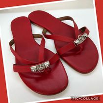 HERMES Fourbi Open Toe Rubber Sole Casual Style Plain Leather Sandals