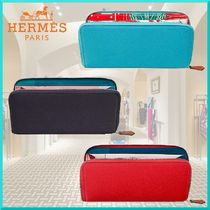HERMES Silk In Other Check Patterns Unisex Calfskin Long Wallets