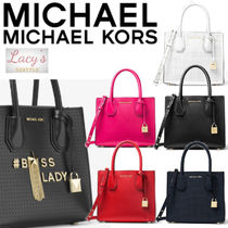 Michael Kors MERCER Casual Style Street Style 2WAY Plain Leather Handbags