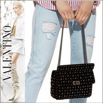 VALENTINO Studded With Jewels Elegant Style Shoulder Bags