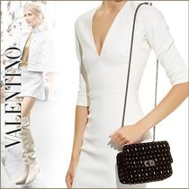 VALENTINO Studded Leather With Jewels Elegant Style Shoulder Bags