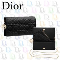 Christian Dior Lambskin Chain Plain Party Style Clutches