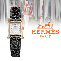 HERMES Leather Quartz Watches Analog Watches