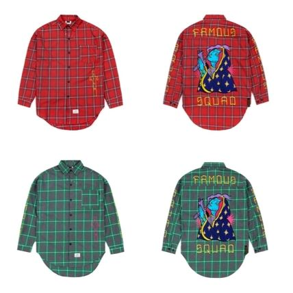 Other Check Patterns Unisex Long Sleeves Cotton Shirts