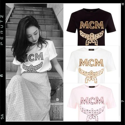 Crew Neck Monoglam Casual Style Cotton Medium Short Sleeves