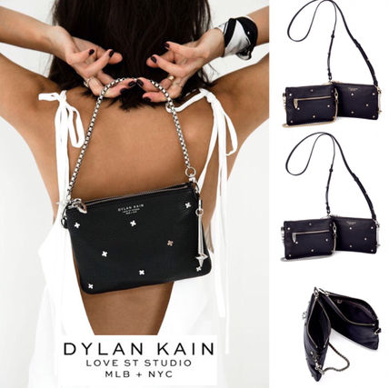 Studded 2WAY Chain Plain Leather Shoulder Bags