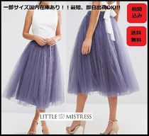 Little Mistress Flared Skirts Plain Medium Lace Elegant Style Midi Skirts