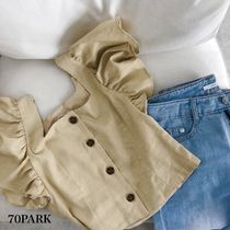 Short Casual Style Linen Plain Puff Sleeves Cropped